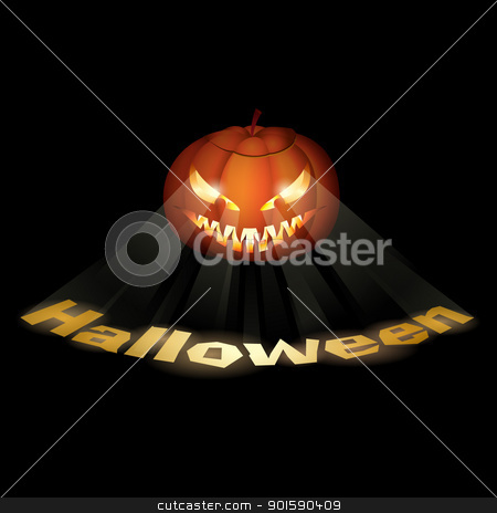 A grinning Jack O Lantern stock photo, A grinning Jack O Lantern. Vector illustration on black. by dvarg