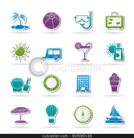 Vacation and holiday icons stock vector clipart, Vacation and holiday icons - vector icon set by Stoyan Haytov