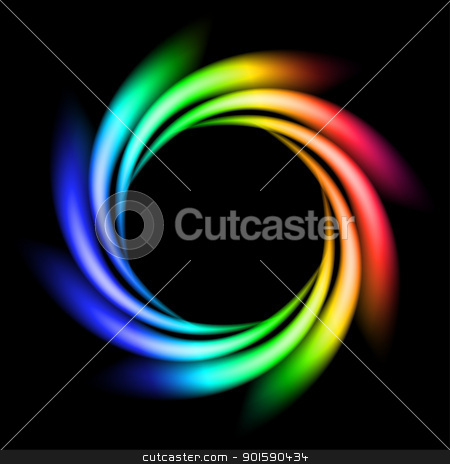 Abstract Rainbow Ray stock photo, Abstract Rainbow Ray of lights explosion on black background by dvarg