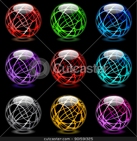 Glossy spheres stock photo, Collection of colorful glossy spheres isolated on black. Set #15. by dvarg
