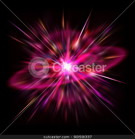 Space flare stock photo, The bright flash of Red Supernova in deep space. by dvarg