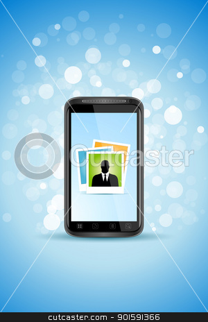Business Background with Modern Smartphone stock vector clipart, Blue Business Background with Modern Smartphone and Sparkles by Vadym Nechyporenko