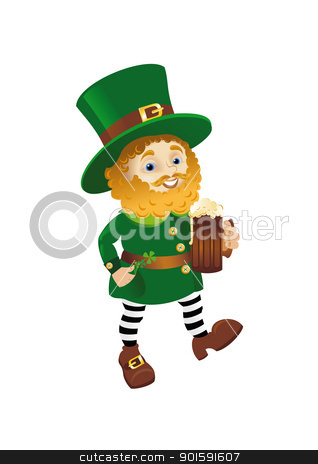 Funny Leprechaun stock photo, Funny Leprechaun going with Ale by dvarg