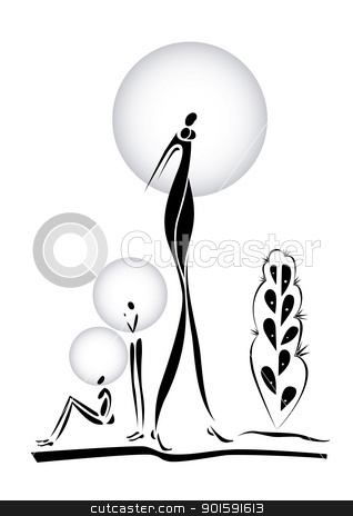 Africans stock photo, Africans. Illustration on white background for design by dvarg
