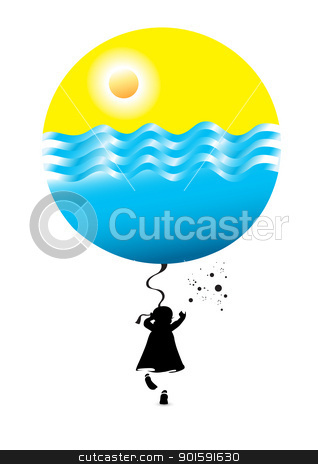 Little girl with a balloon stock photo, Little girl with a balloon. Illustration on white background by dvarg