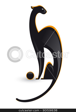 Panther with ball  stock photo, Illustration of the panther with ball on white background by dvarg