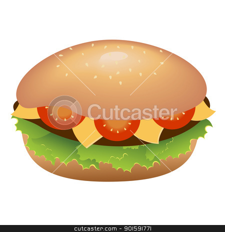 Hamburger with cheese and tomatoes stock photo, A single hamburger with cheese and tomatoes by dvarg