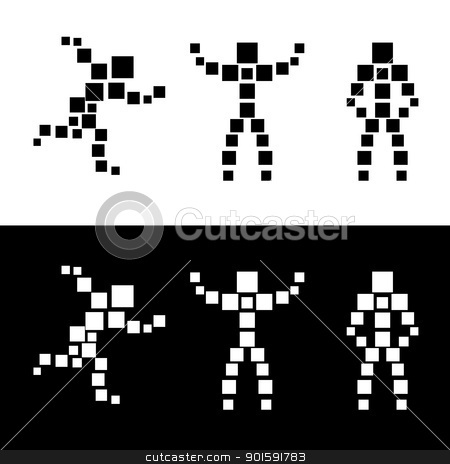 Abstract silhouette of people. Square. stock photo, Abstract silhouette of people. Square. Black and white vector illustration. by dvarg