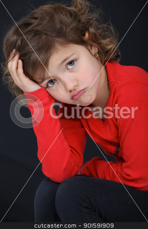 Little girl sulking. stock photo, Little girl sulking. by photography33