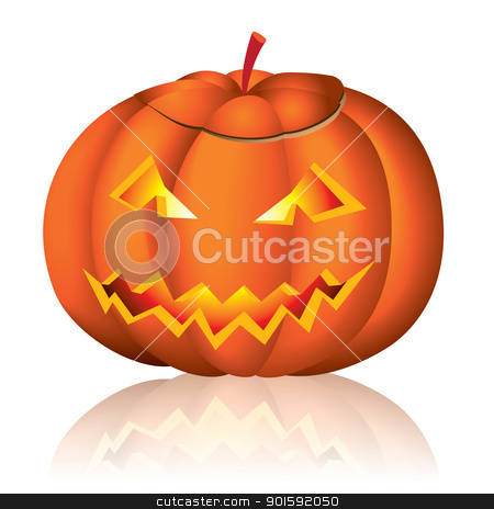 Jack-o-lantern halloween stock photo, Jack-o-lantern halloween vector illustration on white background by dvarg