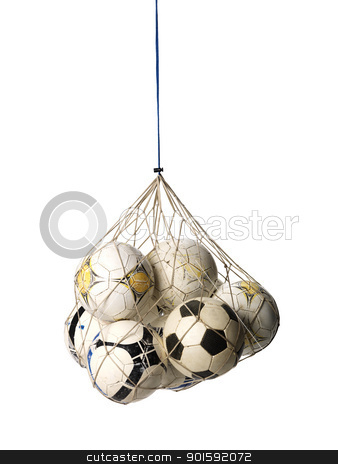 Soccer Balls stock photo, Net with Soccer Balls on white background by Anne-Louise Quarfoth