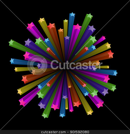 Colorful stars explode stock photo, Vector illustration of colorful stars explode on black background by dvarg