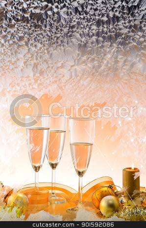 Frosted window and Christmas decoration  stock photo, Frosted window, champagne glasses and Christmas decoration  by Mircea Savu
