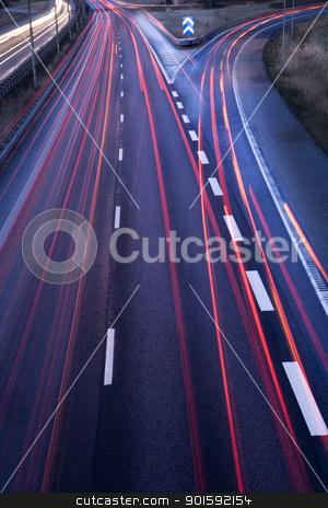 Highway stock photo, Highway with moving cars at dawn by Anne-Louise Quarfoth