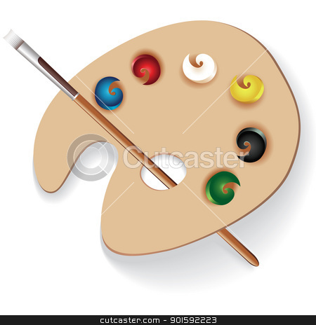 Paint palette and brush stock photo, Paint palette and brush. Illustration on white background by dvarg