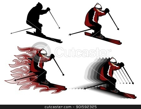 skiing stock vector clipart, four skiing man illustrations, adult man by Robert Remen