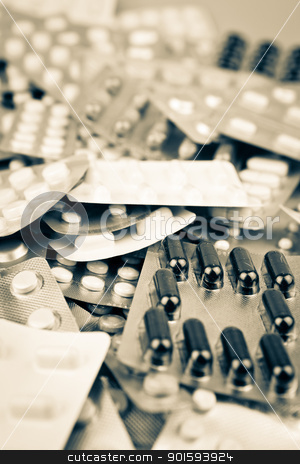 Packs of pills stock photo, Packs of pills by Nenov Brothers Images