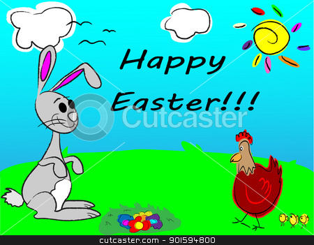 Easter rabbit stock vector clipart, Easter rabbit by vician