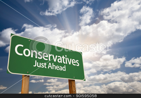 Conservatives Green Road Sign and Clouds stock photo, Conservatives Green Road Sign with Dramatic Clouds, Sun Rays and Sky. by Andy Dean