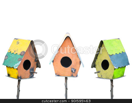 Bird Houses Isolated on White stock photo, Three colorful rustic birdhouses isolated on white by Leslie Murray