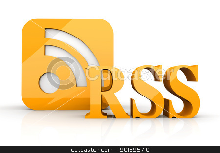 RSS Symbol stock photo, 3D rendered Illustration. RSS symbol. Isolated on white.   by Michael Osterrieder
