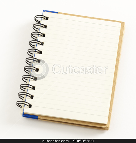 Notebook stock photo, Small notebook isolated on white background, double spiral binding by gustavotoledo