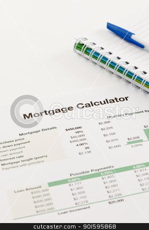 Mortgage Calculator stock photo, Spreadsheet Printout by gustavotoledo