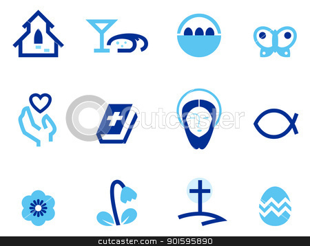 Easter and christianity icon set isolated on white ( blue ) stock vector clipart, Stylized easter and christian icons. Vector by Jana Guothova