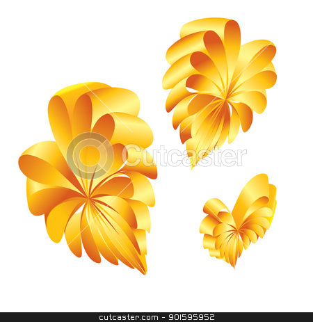 Shape of a hearts. stock photo, Ribbons curled into the shape of a yellow hearts. by dvarg
