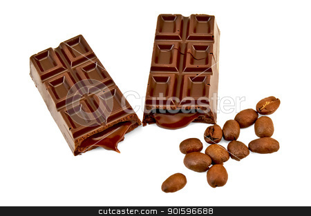 Chocolate with filling and coffee beans stock photo, Two halves chocolate with filling and coffee beans isolated on white background by rezkrr