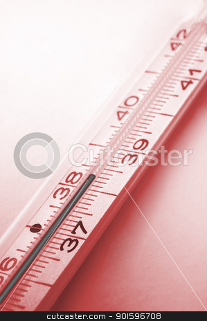 clinical thermometer stock photo, red colored picture of clinical thermometer, high temperature by Robert Remen