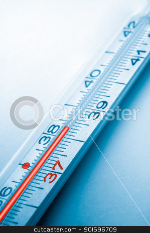 clinical thermometer stock photo, blue colored picture of clinical thermometer, high temperature by Robert Remen
