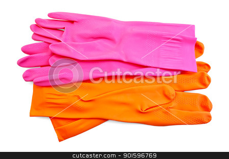 Orange and pink rubber gloves stock photo, Orange and pink rubber gloves isolated on white background by rezkrr