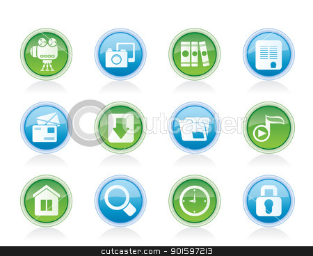Computer and website icons stock vector clipart, Computer and website icons - vector icon set by Stoyan Haytov