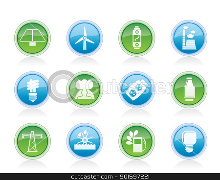 Power, energy and electricity icons  stock vector clipart, Power, energy and electricity icons - vector icon set by Stoyan Haytov