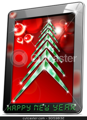 Tablet Happy New Year  stock photo, Black tablet computer with Christmas tree and happy new year  by catalby