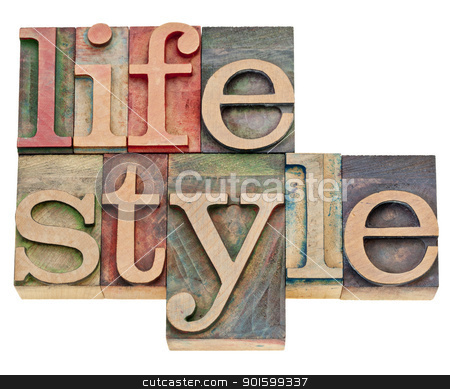 lifestyle in letterpress type stock photo, lifestyle - isolated word  in retro letterpress wood type by Marek Uliasz