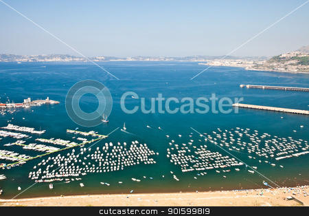 Naples gulf stock photo, View of Naples Gulf from Pozzuoli. Ischia and Procida Isles on the orizont line. by Perseomedusa