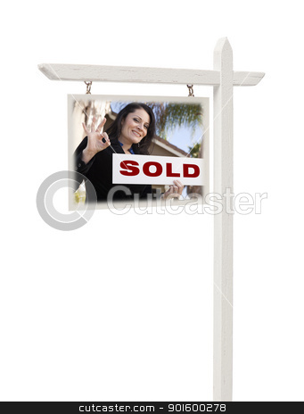 Real Estate Sign with Female Agent and Sold Sign stock photo, Isolated Real Estate Sign with Clipping Path - Hispanic Female Agent and Sold Sign. by Andy Dean