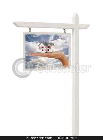 Real Estate Sign with Hand Holding House stock photo, Isolated Real Estate Sign with Clipping Path - Hand Holding House in Front of Clouds, Sky and Sun Rays. by Andy Dean