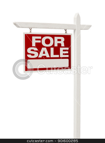 Home For Sale Real Estate Sign with Clipping Path stock photo, Isolated Home For Sale Real Estate Sign with Clipping Path. by Andy Dean