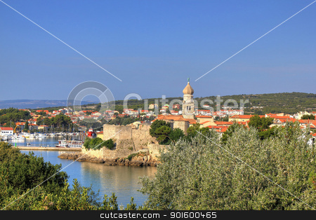 Old adriatic town of Krk waterfront stock photo, Old adriatic town of Krk waterfront, Croatia by xbrchx