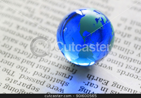 earth on  newspaper stock photo, blue earth( Marble) on the  newspaper by yoshiyayo