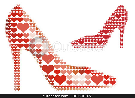 shoe with red heart pattern, vector  stock vector clipart, shoe love with red heart pattern, vector background by Beata Kraus