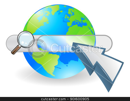 Web globe seach bar concept stock vector clipart, Conceptual internet illustration with search bar over world globe and arrow cursor by Christos Georghiou
