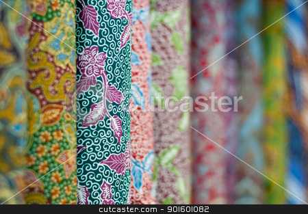 Colourful Batik stock photo, Closeup of colorful batik, Yogyakarta, Central Java, Indonesia by nvelichko