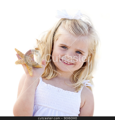Adorable Little Blonde Girl with Starfish Isolated stock photo, Adorable Little Blonde Girl with Starfish Isolated on a White Background. by Andy Dean