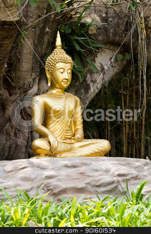 Meditation Buddha statue. Under the Bodhi tree stock photo, Meditation Buddha statue. Under the Bodhi tree by narathorn