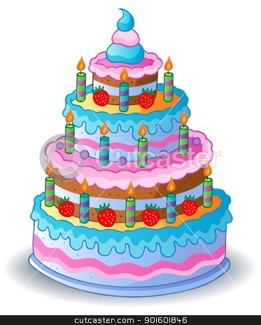 Decorated birthday cake 1 stock vector clipart, Decorated birthday cake 1 - vector illustration. by Klara Viskova