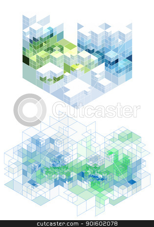 abstract cubic background, vector stock vector clipart, abstract background with 3d cubes, vector by Beata Kraus